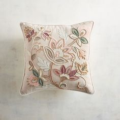 Embellished Blush Jacobean Floral Pillow   Pier 1 Imports