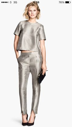 H&M silver trousers 24.99 #want