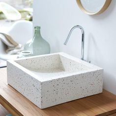 White terrazzo sink is a cute and stylish idea. Terrazzo inspiration for home interiors and redecoration ideas. Bathroom Furniture, Bathroom Interior, Modern Bathroom, Antique Furniture, Rustic Furniture, Outdoor Furniture, Countertop Basin, Countertops, Square Bathroom Sink