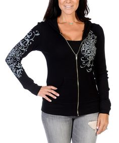 Another great find on #zulily! Black Embellished Zip-Up Hoodie #zulilyfinds