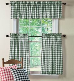 polyester-checked-gingham-curtains-and-accessories-red valance for kitchen. Gingham Curtains, Curtains And Draperies, Black Curtains, Country Curtains, Cotton Curtains, Kitchen Window Curtains, Cafe Curtains, Kitchen Valances, Kitchen Colors