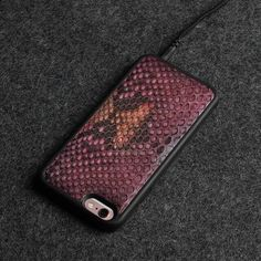 Luxury 3D Natural Python Skin Leather Cases for Iphone Models - side rose red / for iphone 6 6S