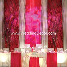 Flat Backdrop - Fuchsia and ivory panels with tree accents