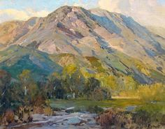 Hanson Puthuff, Summer Evening, 24 x 30 Southern California Early American Impressionist painter Hanson Duvall Puthuff was born to Alonzo Augustus Duvall and his wife, Mary Anne Lee, on August American Impressionism, Impressionist Paintings, Landscape Artwork, Cool Landscapes, Beautiful Landscapes, Mountain Art, Mountain Landscape, California Art, Southern California