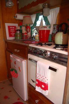 Kitchen Appliances in 1962 Shasta Compact Trailer