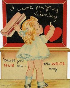 Vintage punny Valentine card with a chalkboard / blackboard and eraser. My Funny Valentine, Valentine Images, Vintage Valentine Cards, Little Valentine, Valentine Day Love, Vintage Greeting Cards, Vintage Holiday, Valentine Day Cards, Vintage Postcards