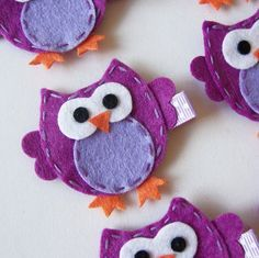 Purple Felt Owl Hair Clip - Cute Everyday Purple Owl Felt Clippies - Birthday party favors. $3.25, via Etsy.
