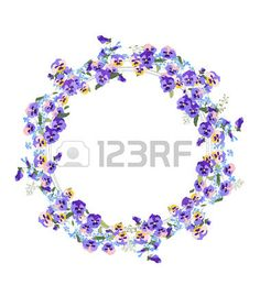 Illustration of Detailed contour wreath with forget-me-nots and viola flowers isolated on white. vector art, clipart and stock vectors. Music Files, Contour, Vector Art, Forget, Clip Art, Wreaths, Stock Photos, Detail, Creative
