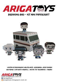 Kit Mini-Papercraft Breaking Bad. Vem com 5 personagens desmontados + furgão (9 folhas no total). Valor R$ 12,00. Divirta-se montando o seu!!  www.facebook.com/arigatoys