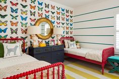HGTV Fresh Faces of Design - Kid-Tastic Spaces: Girls' Butterfly-Themed Room by Jennifer O'Dowd & Joanna Gick >> http://www.hgtv.com/design/fresh-faces-of-design/2015/kid-tastic-spaces?soc=pinterest
