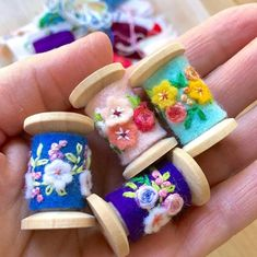 I worked on these cute little spool pendants this afternoon. They are made using new wooden spools but Im planning to make some using vintage spools which will be fun because theyll all be a little different. Wooden Spool Crafts, Wooden Spools, Craft Projects, Sewing Projects, Felt Embroidery, Embroidery Stitches, Thread Spools, Wool Applique, Sewing Notions
