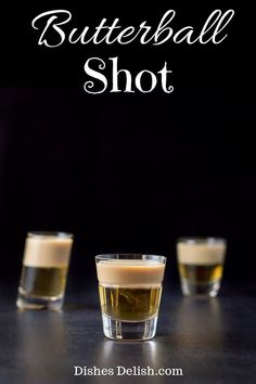 Butterball Shots 🥃There are only two ingredients to this delicious and pretty shot! The combination of butterscotch schnapps and Baileys make you think of butter rum candies or even what you imagine butter beer would taste like! Whiskey Drinks, Bar Drinks, Non Alcoholic Drinks, Yummy Drinks, Yummy Shots, Scotch Whiskey, Irish Whiskey, Beverages, Christmas Shots