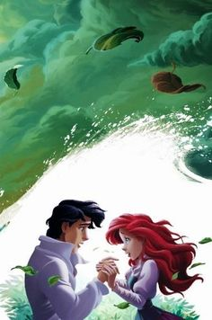 Ariel and Eric in Little Mermaid via www.Facebook.com/GleamofDreams