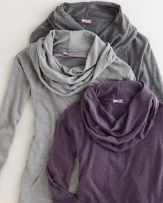 Cowl necks - easy to build off a scoop neck in CustomFit, cozy for fireside knitting. #customfitkal