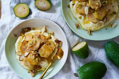 Poached feijoa with whipped feta and honey Whipped Feta, Sliced Almonds, Creative People, Potato Salad, Honey, Meals, Fresh, Vegetables, Cooking