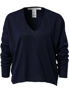 Deep V - Neck Sweater Trend - Navy - Jumpers & Cardigans - Clothing - Women #basic