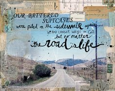 Huge 20 x 16 paper print - The Road - inspirational, rustic travel themed mixed media painting