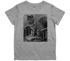 El Cheapo Cat on a Chair (Black) Toddler Grey Marle T-Shirt