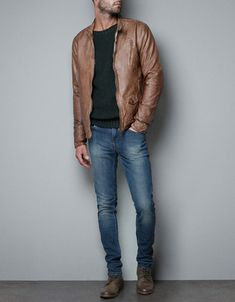 FAUX LEATHER JACKET - Jackets - Man - ZARA Italy                                                                                                                                                                                 Más