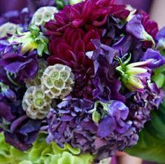 Purple wedding flowers  www.myfloweraffair.net