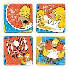 Simpsons Duff Beer Coaster 4-Pack