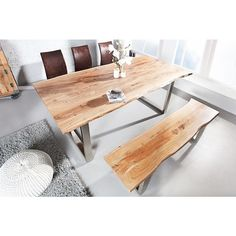 Moderne eettafel Mammoet II 180cm acacia - 36351