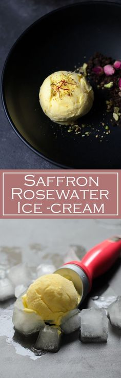 Saffron and rosewater ice-cream recipe. Its delicious, its exotic ice-cream and it is also known as Persian Ice-cream.  And the texture is as soft as Italian gelato.