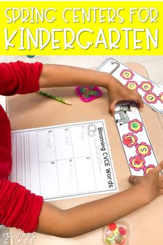 Engaging printable centers for kindergarten! Students practice math and literacy skills with Spring themed centers.