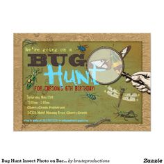 Bugs insects birthday party invitation set on etsy 1675 bug hunt insect party invitation print on demand front and back design stopboris Images