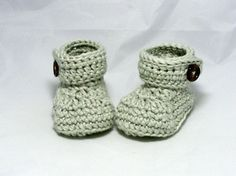 Crochet Button Flap Ankle Baby Booties by hamburke on Etsy, $25.00