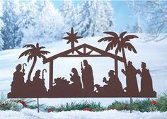 Nativity Silhouette Scene Garden Stake
