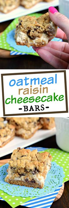 Soft and chewy oatmeal raisin cookie on top of a creamy cheesecake bar! These Oatmeal Raisin Cookie Cheesecake Bars are delicious, comfort food treats!: