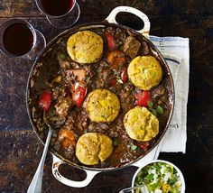 Brazilian pork stew with corn dumplings-Try this simple one-pot take on the traditional Brazilian Feijoada, using pork shoulder - throw in leftover chorizo, ham or bacon Bbc Good Food Recipes, Cooking Recipes, Oven Recipes, Slow Cooking, Recipes Dinner, Dinner Ideas, Recipies, Puerto Rico, Kitchen