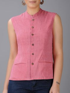 Buy Pink Mandarin Collar Cotton Jacket with Pockets Women Jackets The Butterfly Effect skirts Bolero tops sling bags and more Online at Jaypore.com