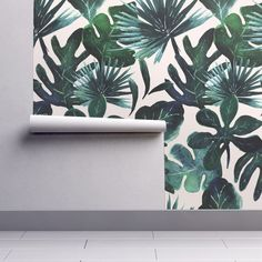 Isobar Durable Wallpaper featuring tropical Leaves Blush by crystal_walen | Roostery Home Decor
