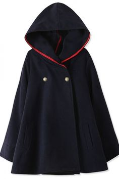 Essential Fashion Women Hooded Woolen Cape - OASAP.com