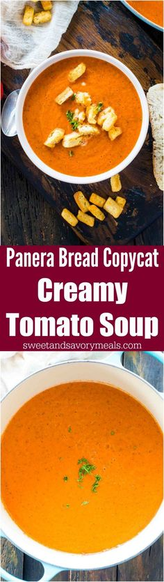 Panera Bread Creamy Tomato Soup Copycat is the chain's classic, famous, creamy soup that will warm your soul and make your taste buds happy. #soup #copycat #panerabread