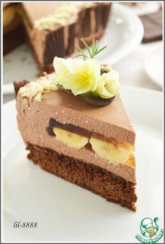 """Торт """"шоколадно-творожный мусс с бананами в карамельном желе"""" - кулинарный рецепт"""