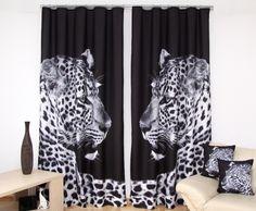 Zasłony gotowe w kolorze czarnym z tygrysem