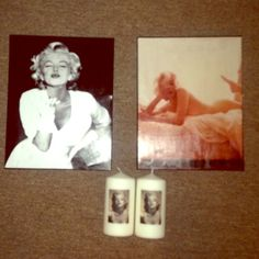Marilyn Monroe canvas and candles 11x14 canvas. Candles are 3x6 Accessories