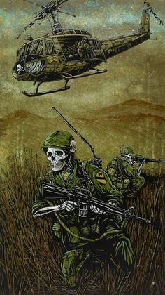 Title: Air Cav Artist: David Lozeau The American soldiers traverse the damp terrain while helicopter transport flies overhead. Made-to-order giclee fine art reproductions on canvas featuring the o Street Art, Military Drawings, Arte Horror, Military Art, Vietnam War, Vietnam Veterans, Skull Art, Stretched Canvas Prints, Dark Art