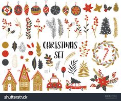Collection of Vintage Merry Christmas And Happy New Year flowers. Greeting stylish illustration of winter romantic flowers, leafs, wreaths, toys. Template for Scrapbooking,Stickers,Planner,Invitations