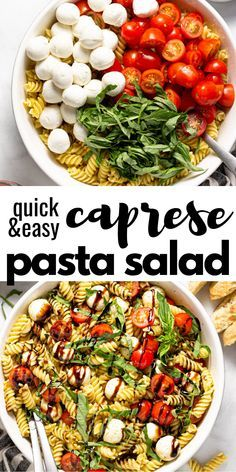 This Caprese pasta salad is filled with ripe grape tomatoes, fresh basil, and cool mozzarella tossed in a pesto vinaigrette and drizzled with a tangy balsamic glaze. It combines your favorite flavors of a fresh, summertime Caprese salad with the familiar backyard BBQ pasta salad. Balsamic Pasta Salads, Tomato Pasta Salad, Bbq Salads, Easy Pasta Salad Recipe, Summer Salads, Pasta Recipes, Cooking Recipes, Caprese Salad, Tomato Mozzarella Salad