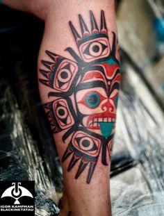 Haida bear and healing hands, nortwest coastal tattoo by Igor Kampman/Blackinktatau