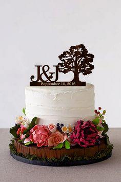 Tree Wedding cake topper Personalized Monogram by HomeWoodDeco Price - $22