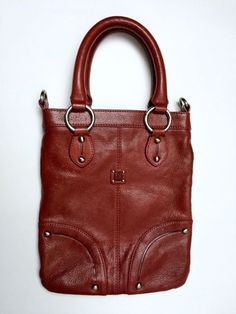 Ellington Red Pebble Leather Tote Purse Boho Bag Silver Logo Oxblood Handbag #Ellington #ToteHandbag