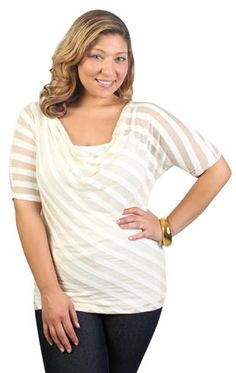 plus size elbow sleeve dolman with striped asymmetrical gold lurex