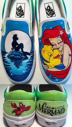 Little Mermaid Shoes from KissaThisArt on Etsy. Saved to Disney Stuff . Shop more products from KissaThisArt on Etsy on Wanelo. Painted Vans, Hand Painted Shoes, Disney Painted Shoes, Disney Shoes, Disney Outfits, Disney Vans, Disney Clothes, Little Mermaid Shoes, Disney Merch