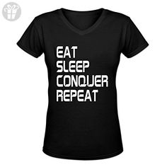 EAT SLEEP CONQUER REPEAT Design Women's Short Sleeve Casual V-Neck T-Shirt Black (*Amazon Partner-Link)