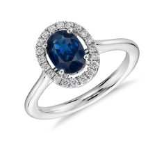 0.60ctw Natural Oval Blue Sapphire & Halo Diamond Engagement Ring 14K White Gold #TrueDiamondJewelry #SolitairewithAccents
